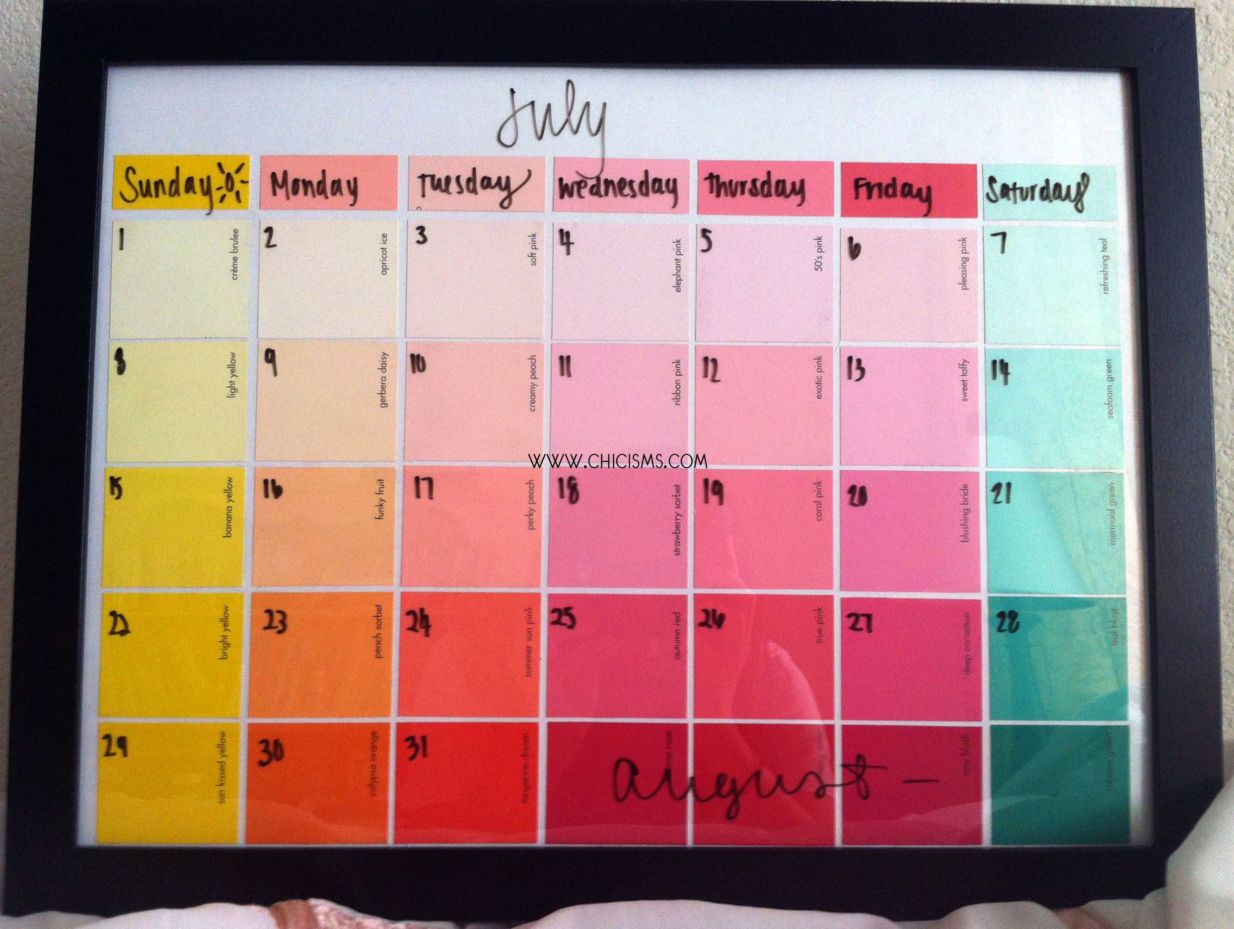 Crafty chic paint sample calendar chicisms a fashion for Paint planner